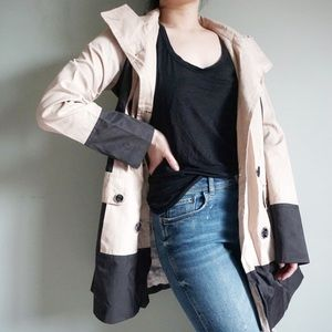 Guess Tan and Black Hooded Trench Coat